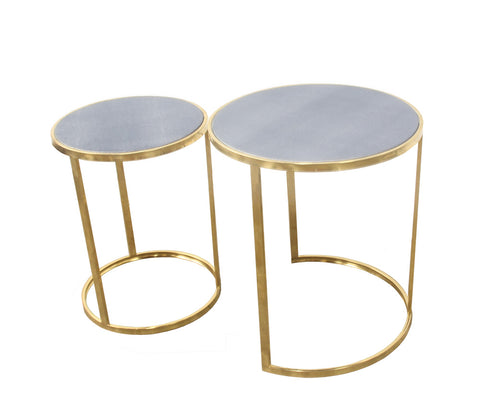 Urbanest Charles Set of 2 Nesting Tables, Faux Shagreen in Gray with Gold Metal, 22-inch and 20 1/2-inch Tall
