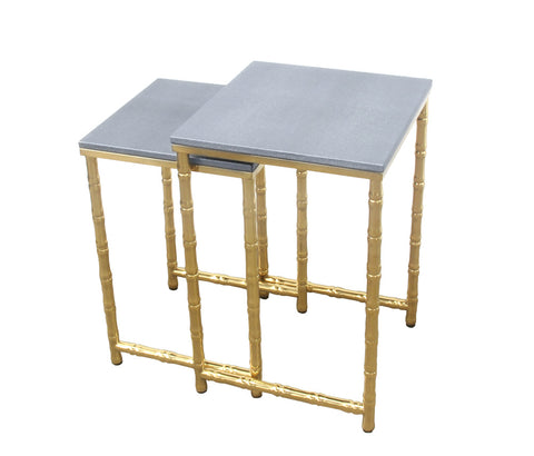 Urbanest Bamboo Leg Set of 2 Nesting Tables, Faux Shagreen in Gray with Gold Metal, 22 1/2-inch and 20 3/4-inch Tall