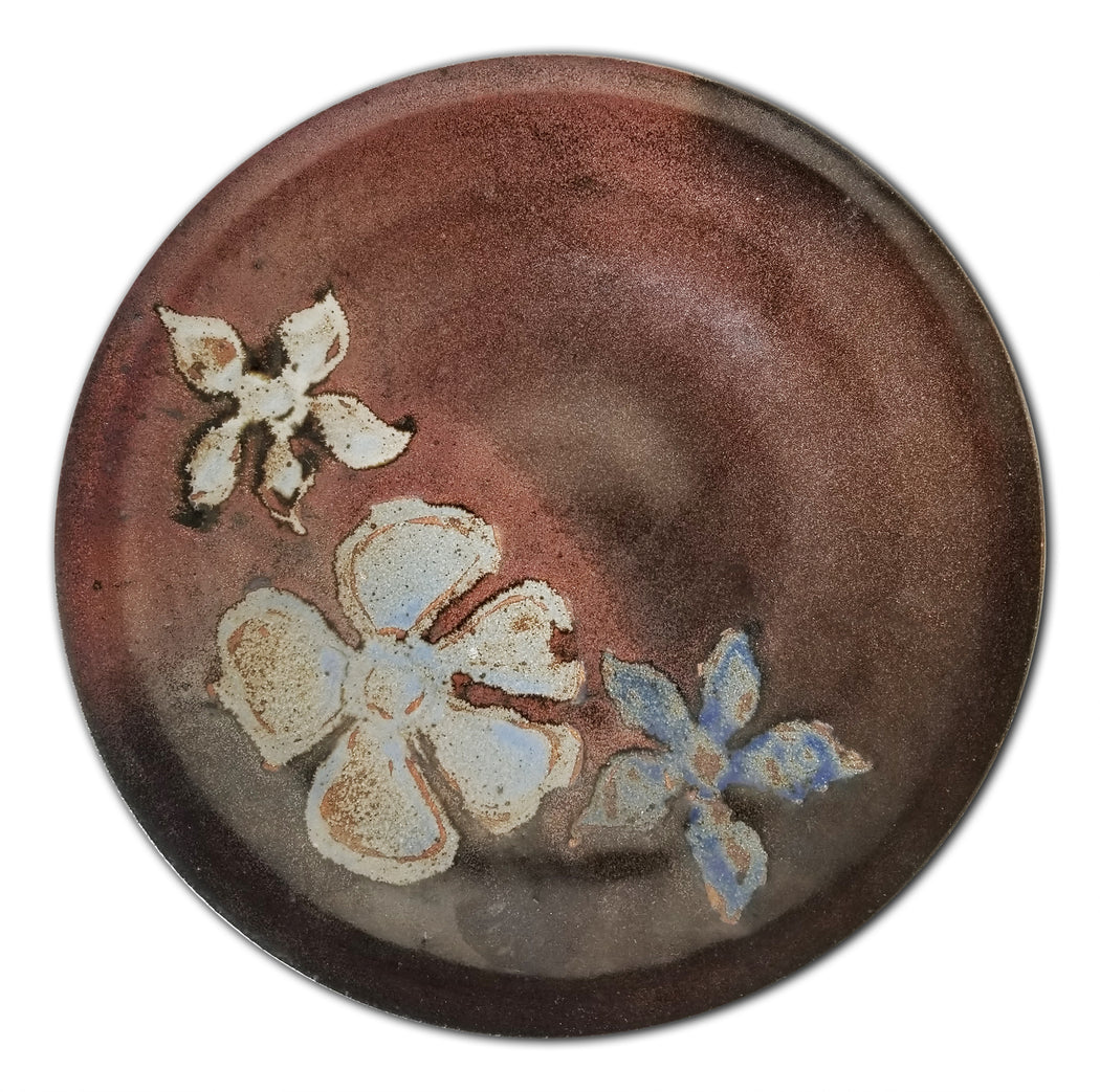 Studio Pottery Plate with Flowers