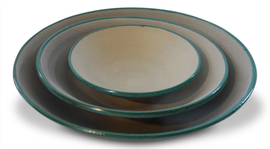 Teal Edged Bowl - Large