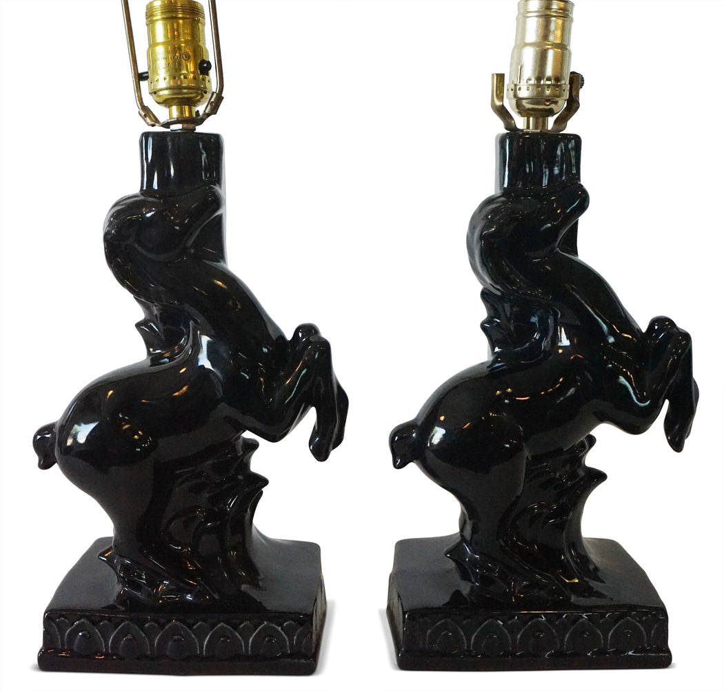 Pair of Ceramic Horse Lamps