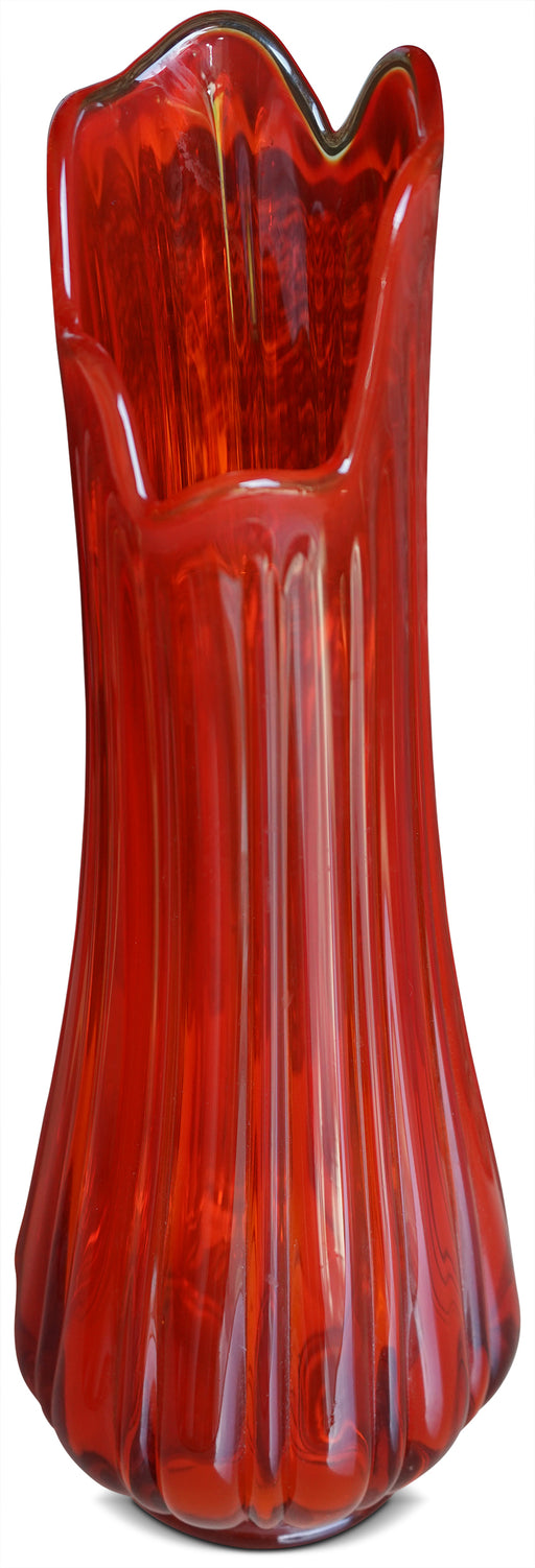 Orange/Red Art Glass Vase