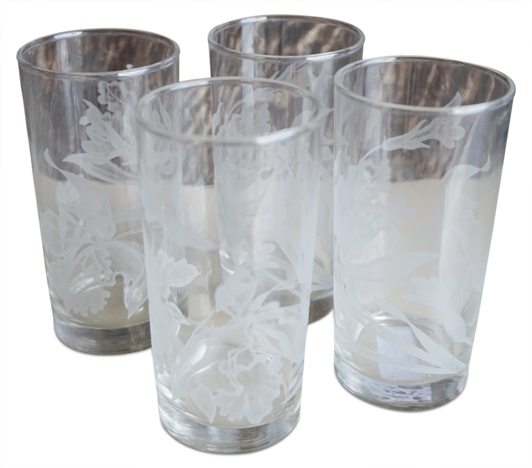 Set of 4 Frosted Flower Motif Glasses