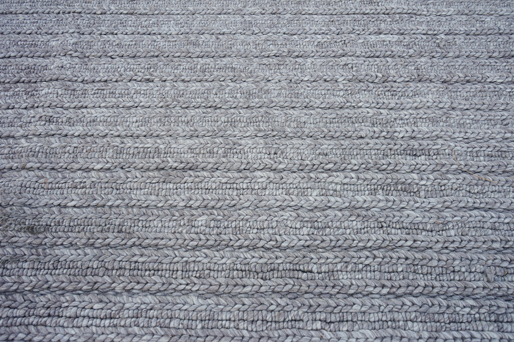 Grey Chunky Wool Braided Rug