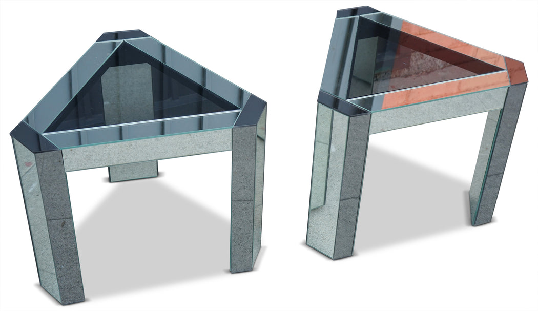 Pair of Mirrored Triangle Side Tables