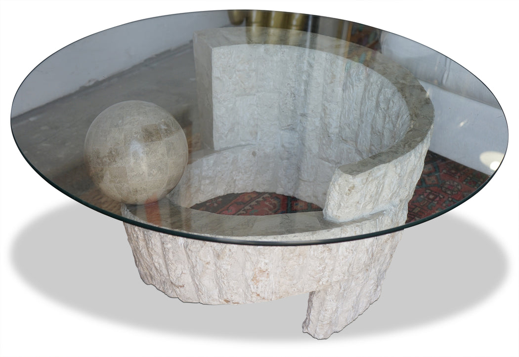 Round Glass + Mactan Stone Coffee Table