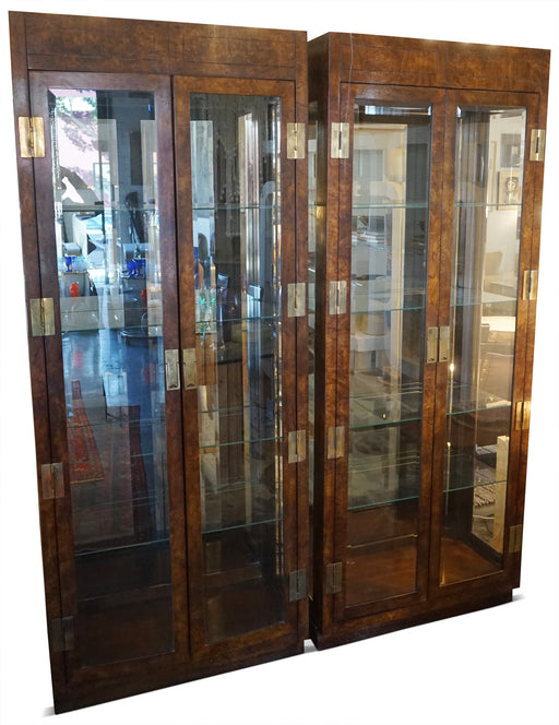 1980s Campaign Style Display Cabinet by Henredon