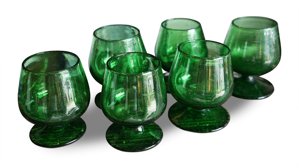 Set of 6 Green Glasses