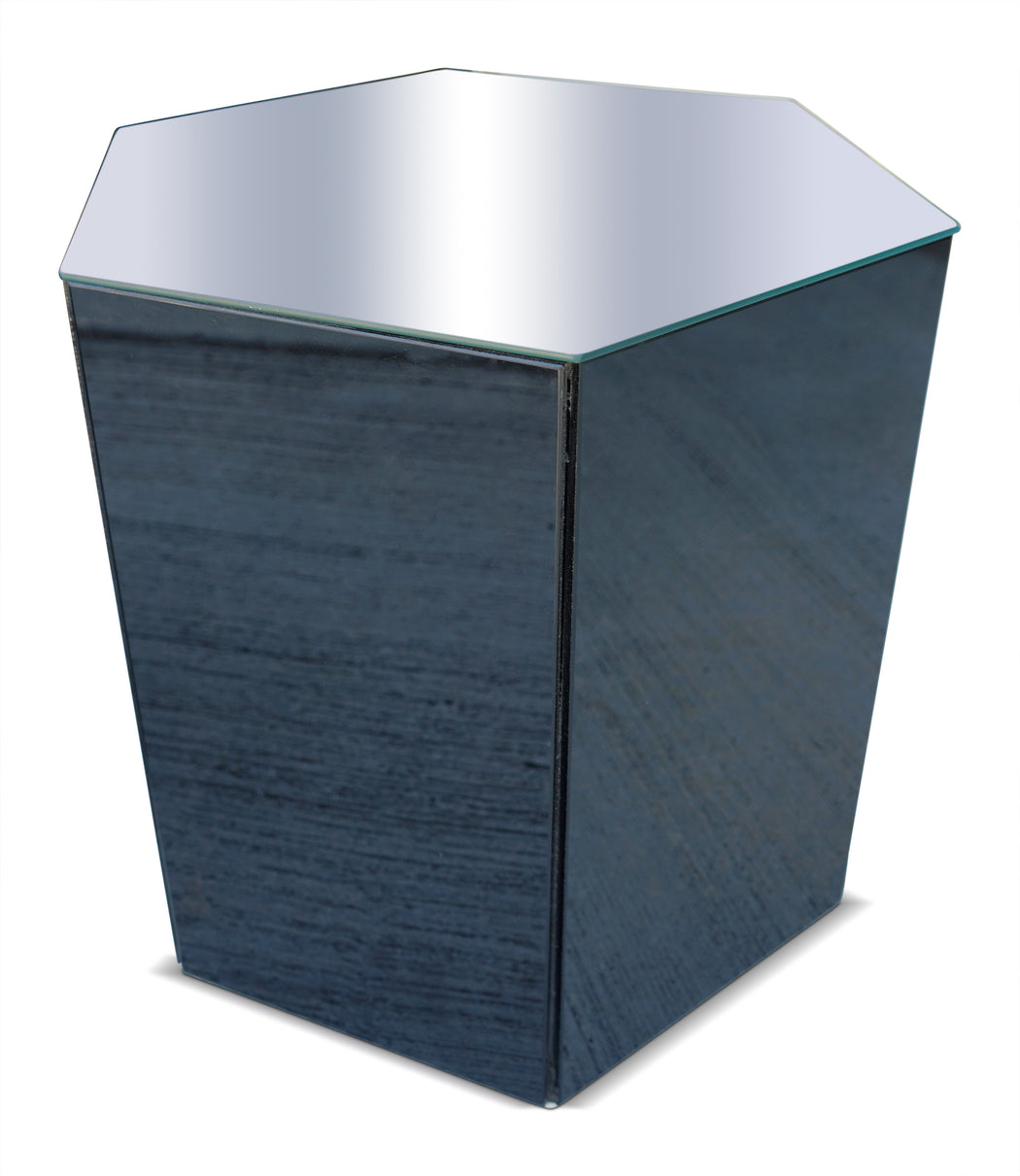 Hexagonal Mirrored Side Table