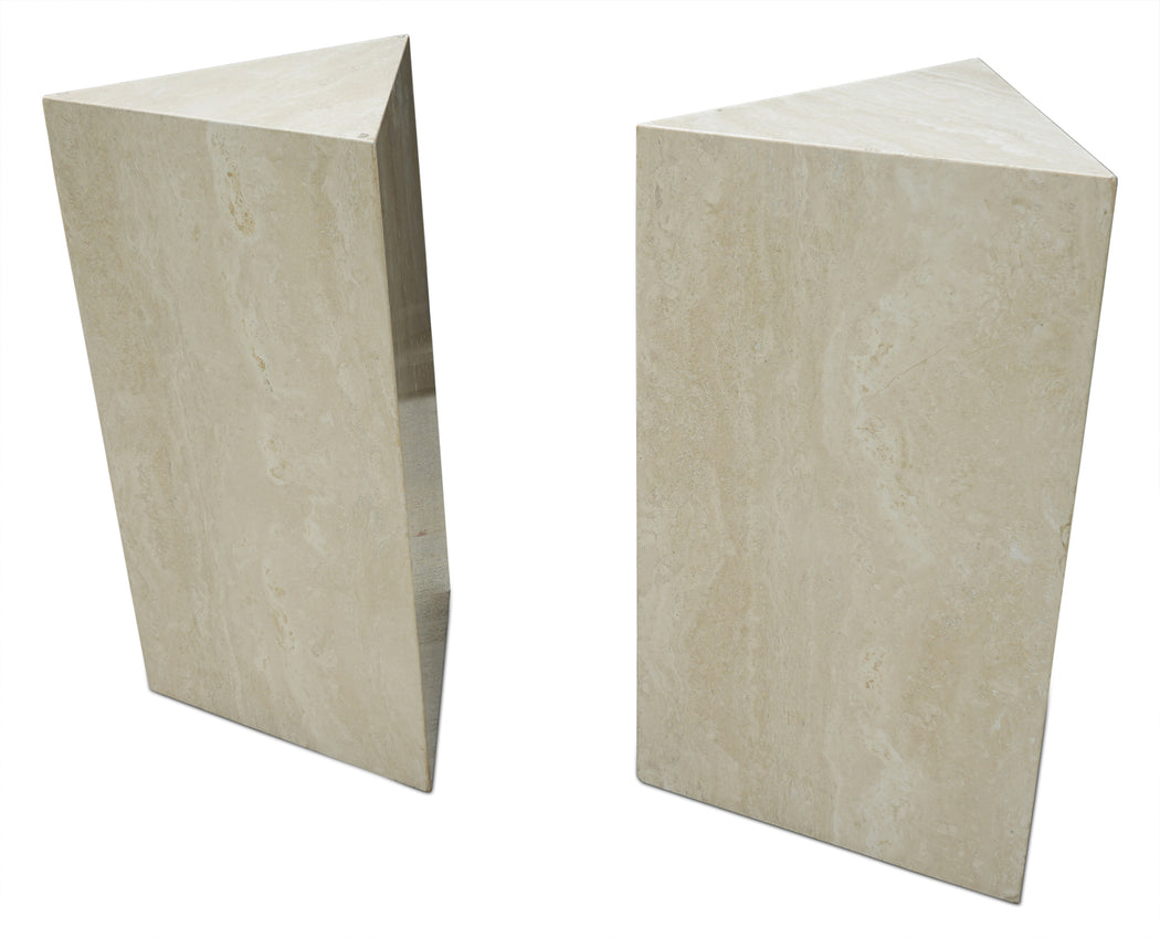 Triangular Travertine Pedestal