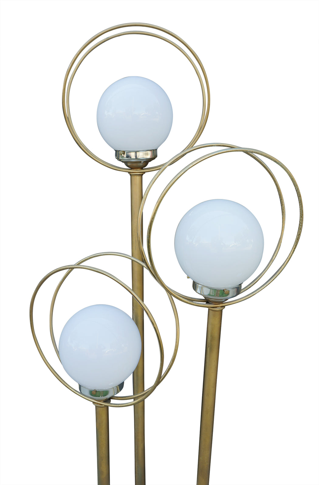 Three Globe Brass Halo Floor Lamp