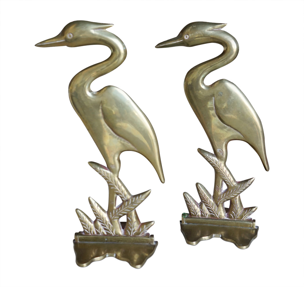 Brass Crane Bookends