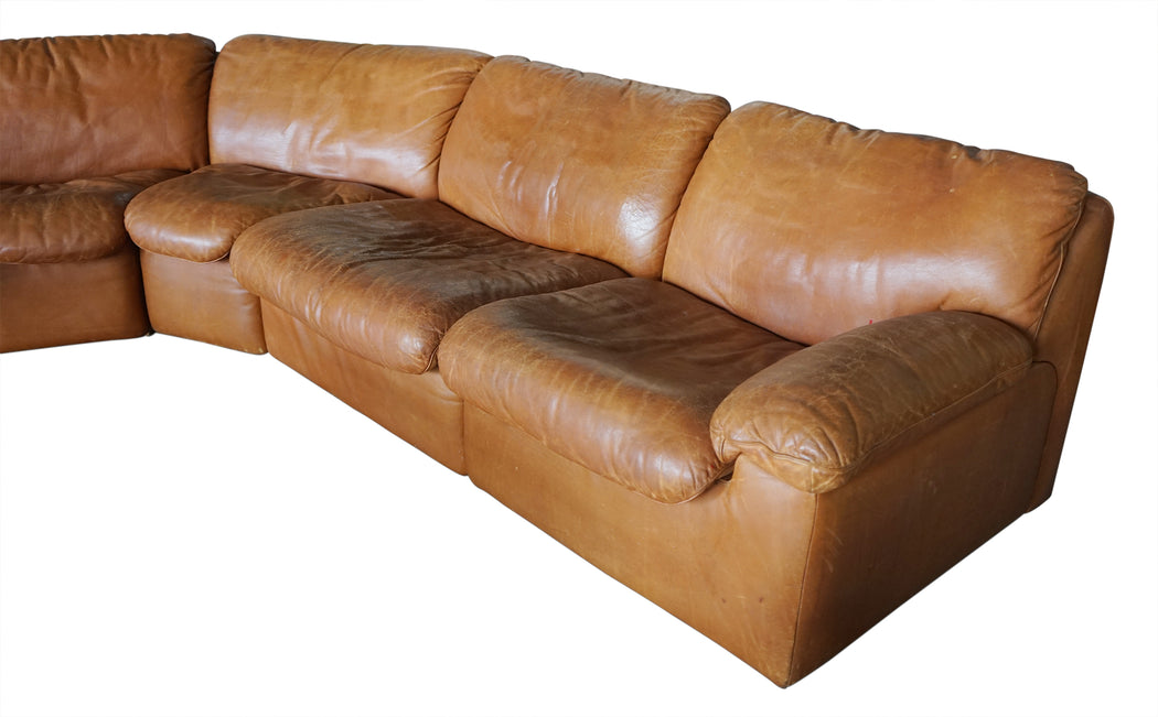 De Sede Curved Leather Sectional