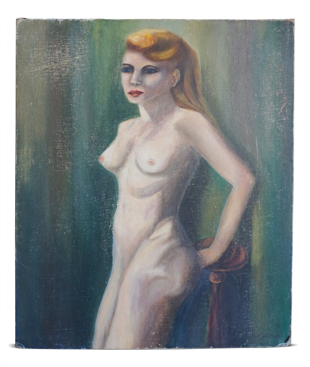 Vintage Painting of Nude Lady