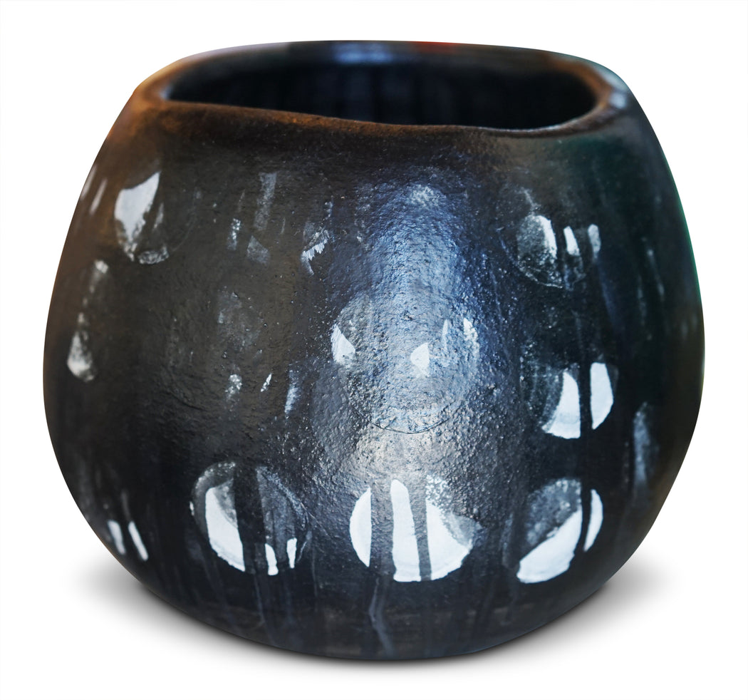 Black Ceramic Planter w/ White Spots