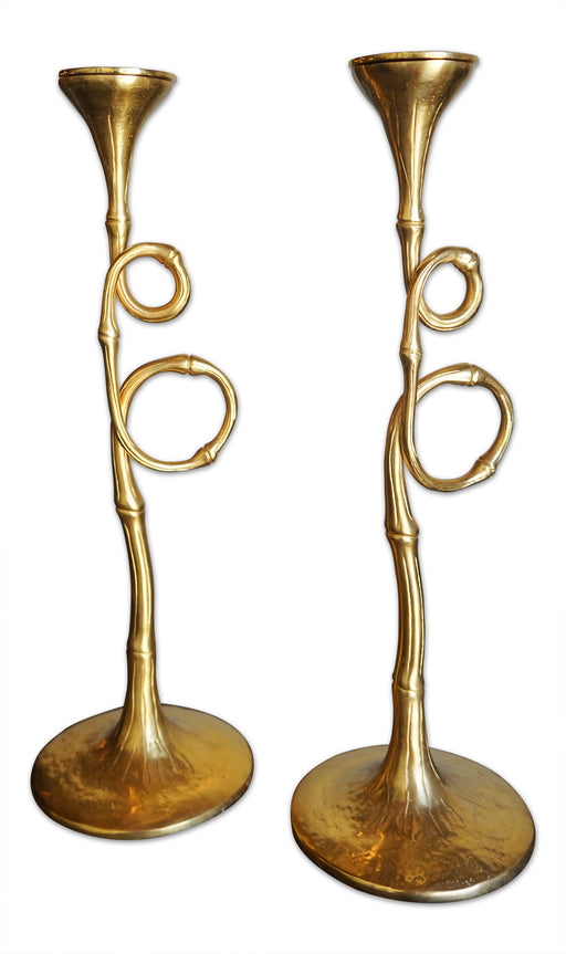 Pair of Gold Twisted Candlestick Holders