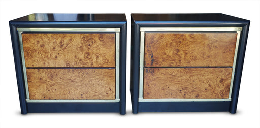 Pair of Burl Nightstands by Bassett