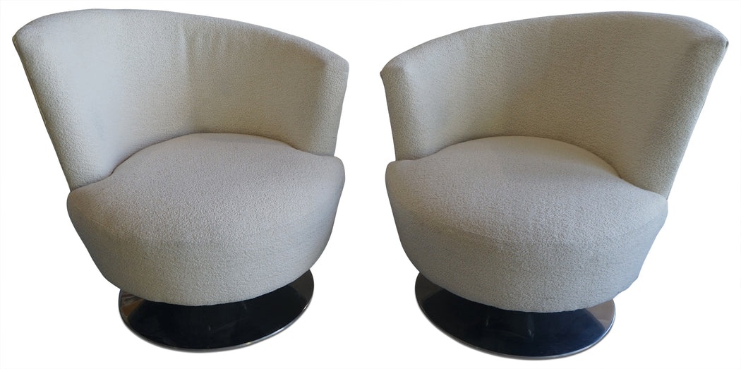 Pair of Kagan Style Swivel Chairs