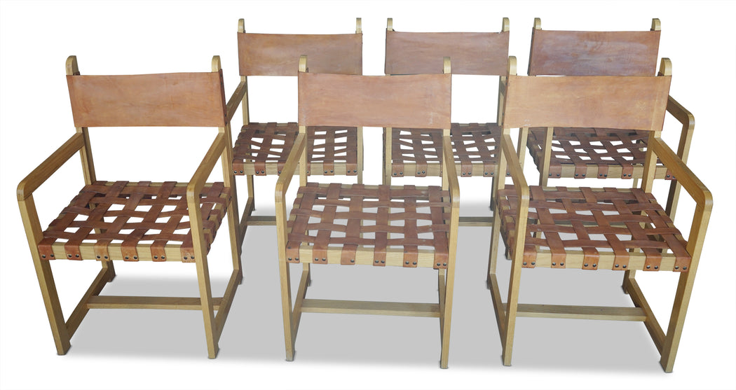 Set of 6 Leather Woven Dining Chairs