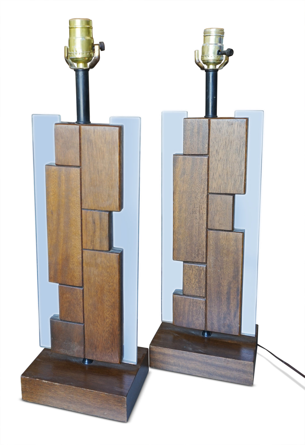 Pair of Lucite + Wood Table Lamps