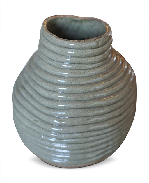 Tan Corded Ceramic Vase