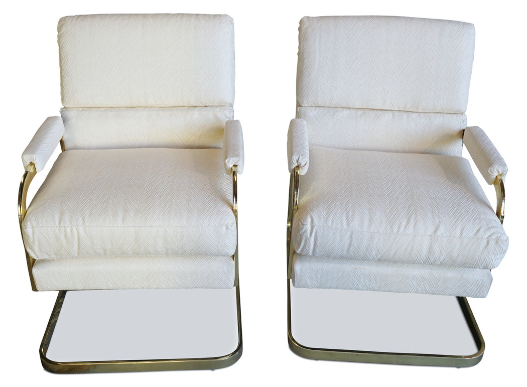 Pair of Baughman Style Lounge Chairs