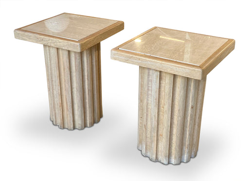 Pair of Wood Column End Tables