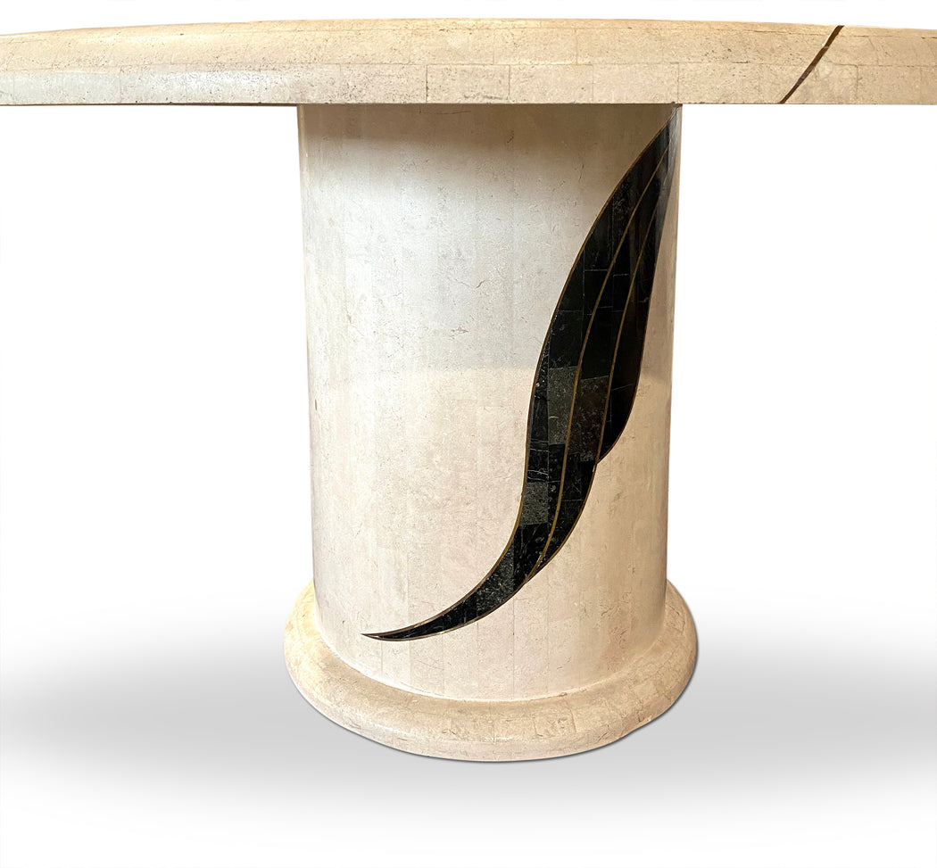White Round Stone Dining Table