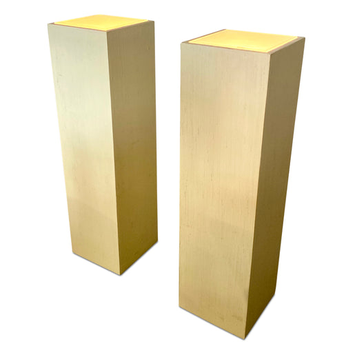 Lacquered Grasscloth Illuminated Pedestal