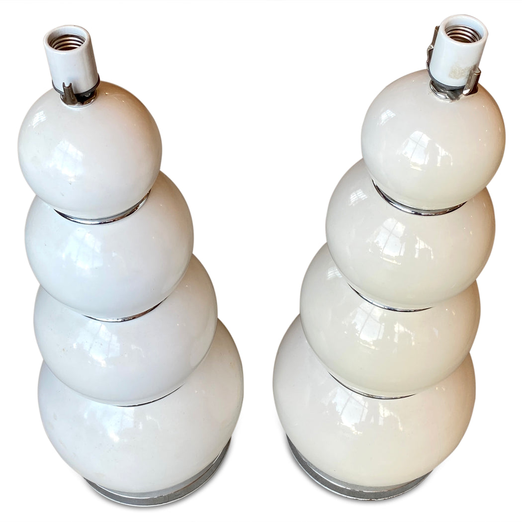 Pair of White Enameled Bubble Lamps