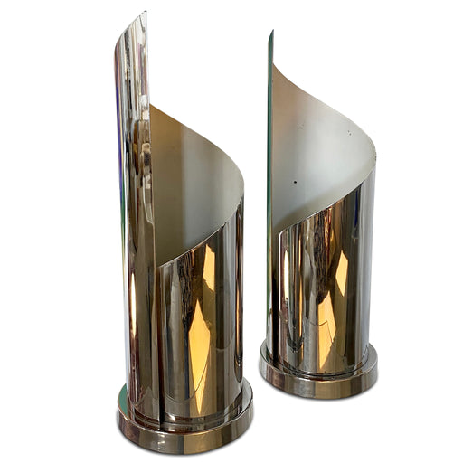 Pair of Chrome Ribbon Lamps