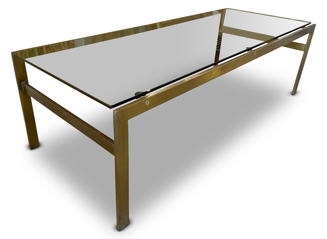 Smoked Glass + Brass Coffee Table
