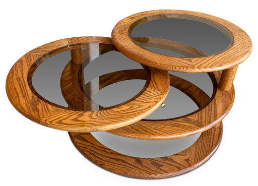 Oak + Smoked Glass Swivel Coffee Table