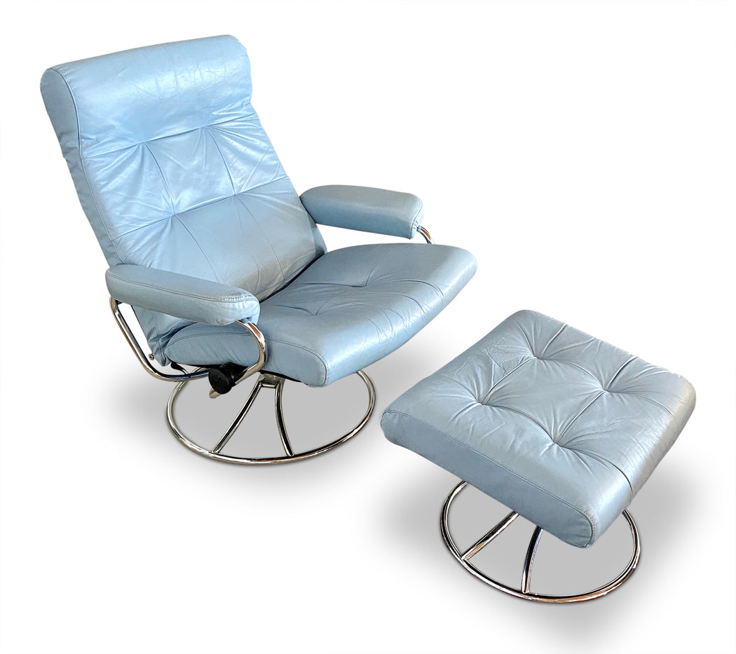 Vintage Baby Blue Ekornes Lounge Chair + Ottoman