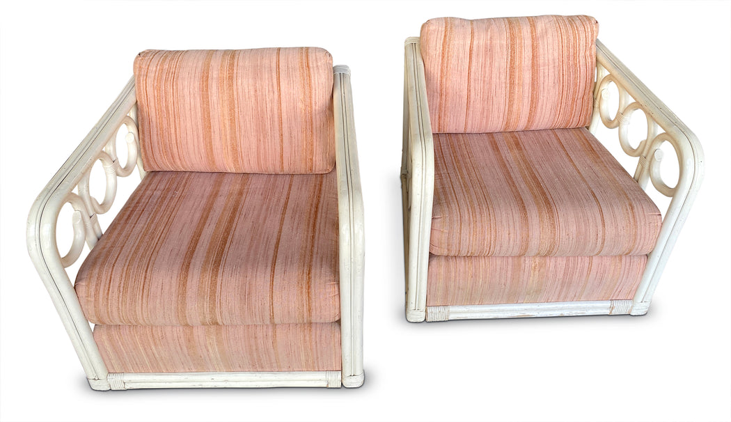 Pair of Bamboo Cushioned Arm Chairs