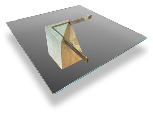 Travertine + Glass Coffee Table