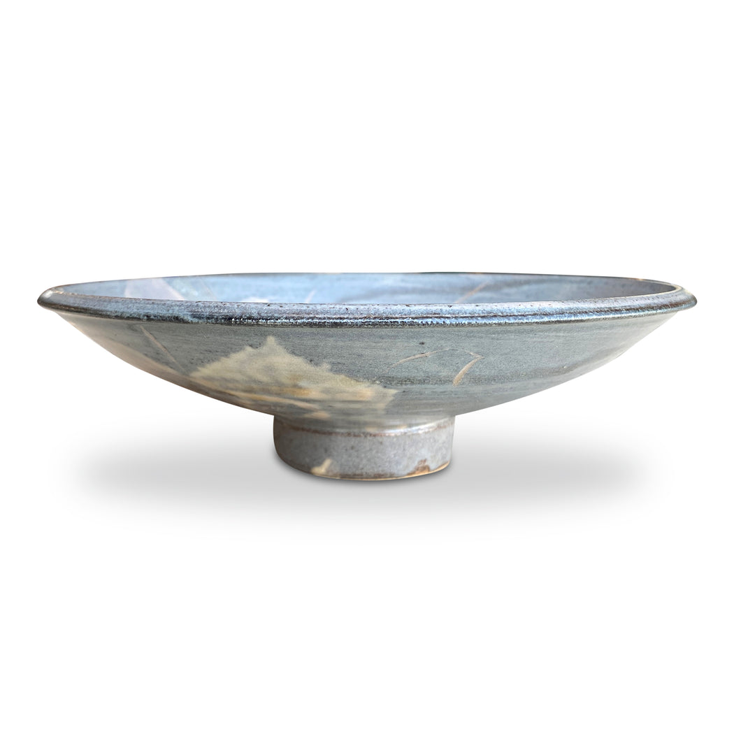 Footed Blue Flower Motif Ceramic Bowl (M)