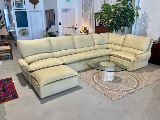 Tan Linen High-Back Sofa