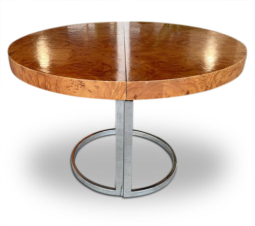 Rounded Burl Wood Extendable Dining Table