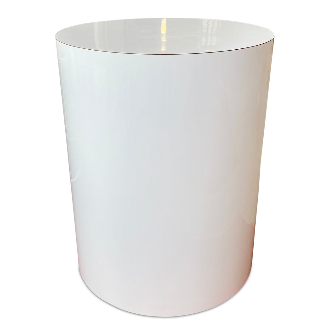White Laminate Drum Pedestal