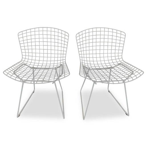 Pair of White Bertoia Chairs by Knoll