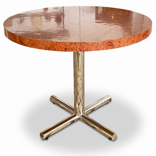 Round Burl Veneer Dining Table