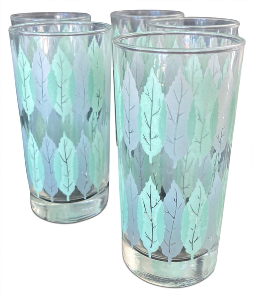 Set of 5 Leaf Motif Glasses