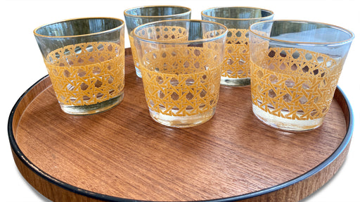 Set of 6 Yellow Cane Patterned Tumblers