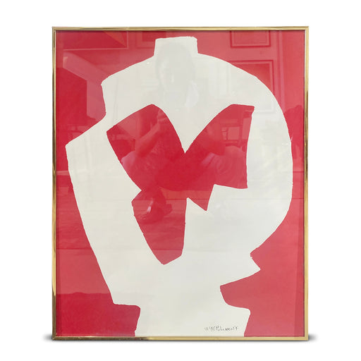 Vintage Red + White Abstract Print