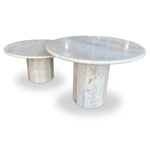 Pair of MCM Travertine Mushroom Tables