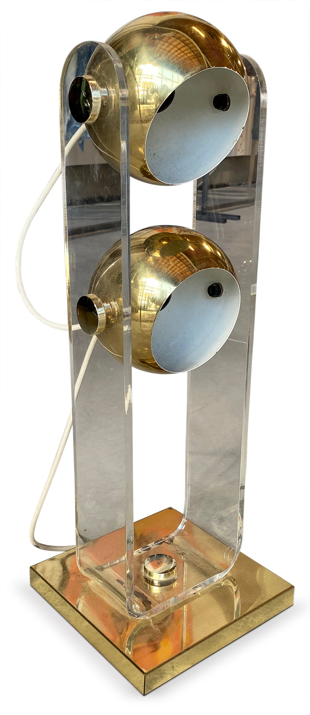 Two Light Brass + Lucite Lamp
