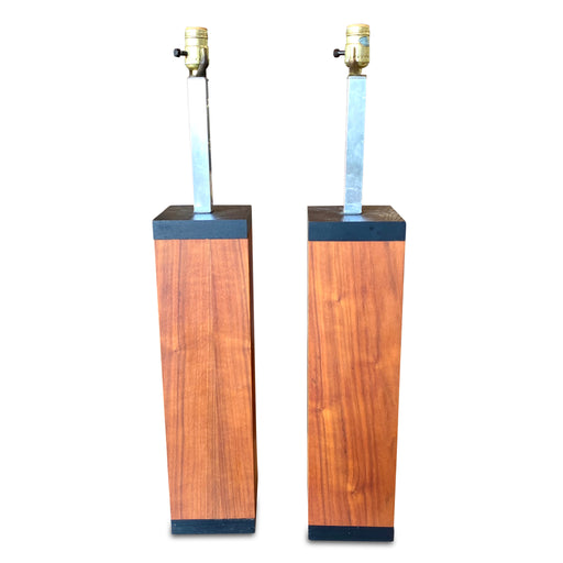 Pair of MCM Walnut Table Lamps