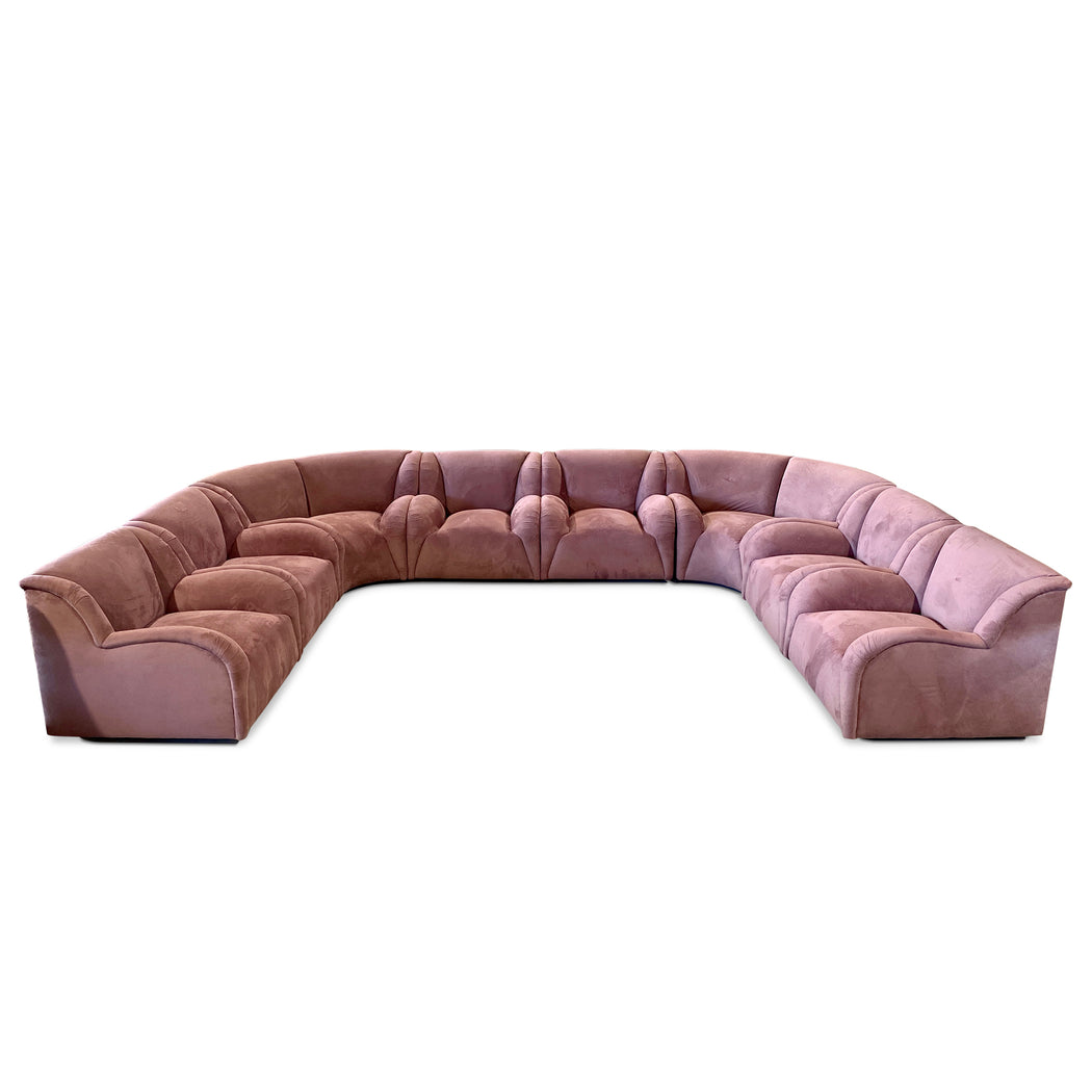 Mauve Velour 8-Piece Sectional