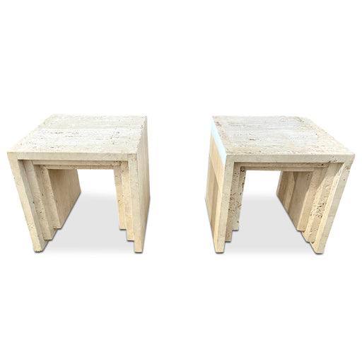 Pair of Terraced Travertine End Tables